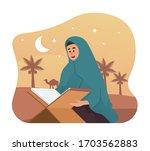 muslim woman reading holy quran....   Shutterstock .eps vector #1703562883