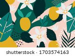 colorful flowers and leaves... | Shutterstock .eps vector #1703574163