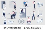 bank set with flat icons of...   Shutterstock .eps vector #1703581393