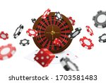 floating poker clubs dice chips ... | Shutterstock .eps vector #1703581483