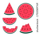 watermelon icon collection set... | Shutterstock .eps vector #1703589769
