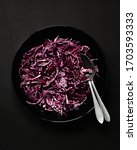fresh red kale salad prepared | Shutterstock . vector #1703593333