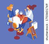 group of people having brunch... | Shutterstock .eps vector #1703601769
