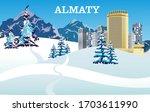 almaty city in winter ... | Shutterstock .eps vector #1703611990