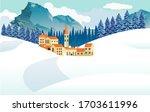 little resort village in the... | Shutterstock .eps vector #1703611996