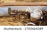 Storm Destroyed House. Damaged...