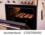Baked Cupcakes In An Open Oven...