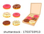 delicious doughnuts with... | Shutterstock .eps vector #1703733913
