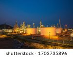 Night Scene Of Oil Refinery...