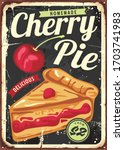 homemade cherry pie vintage... | Shutterstock .eps vector #1703741983