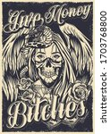 chicano tattoo poster with... | Shutterstock .eps vector #1703768800
