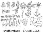 outline vector hand drawn... | Shutterstock .eps vector #1703812666