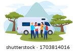 Outdoor recreation, character people rest, national park, motorhome, camping site, flat vector illustration. Human male, female plot route, country travel, group of people wild rest. - stock vector