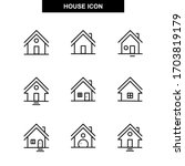 set of homes thin line icons.... | Shutterstock .eps vector #1703819179