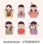 people enjoying celebration... | Shutterstock .eps vector #1703838319