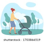 mother and child walk in the... | Shutterstock .eps vector #1703866519