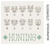 hunting trophies icon set | Shutterstock .eps vector #170390570
