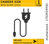 charger vector icon with glyph...