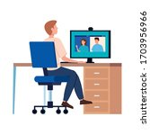 man in video conference with... | Shutterstock .eps vector #1703956966