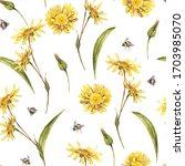 watercolor summer meadow... | Shutterstock . vector #1703985070