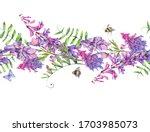 watercolor summer meadow... | Shutterstock . vector #1703985073