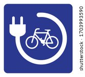 the electric bicycle charging... | Shutterstock .eps vector #1703993590