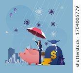 businesswoman with umbrella... | Shutterstock .eps vector #1704005779