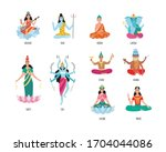 collection of indian goddess... | Shutterstock .eps vector #1704044086