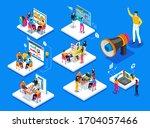 teamwork vector 3d isometric... | Shutterstock .eps vector #1704057466