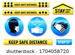 keep distance and stay home... | Shutterstock .eps vector #1704058720