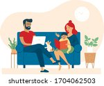family at home during... | Shutterstock .eps vector #1704062503
