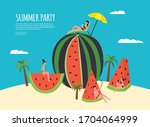 summer party poster or banner...   Shutterstock .eps vector #1704064999
