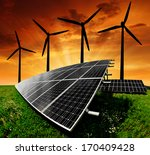 solar energy panels with wind... | Shutterstock . vector #170409428