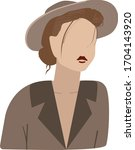jungle woman in brown hat and... | Shutterstock .eps vector #1704143920