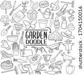 garden tools and animals doodle ... | Shutterstock .eps vector #1704150016