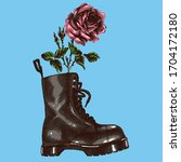 modern brutal boot with rose.... | Shutterstock .eps vector #1704172180