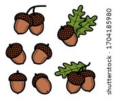 acorns set. collection icon... | Shutterstock .eps vector #1704185980