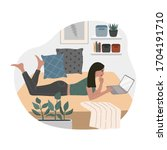 young girl freelancer working... | Shutterstock .eps vector #1704191710