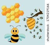 vector set of bee's life. cute... | Shutterstock .eps vector #1704219166