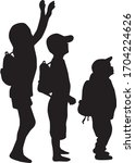 silhouettes of a children with...   Shutterstock .eps vector #1704224626