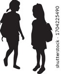 silhouettes of a children with... | Shutterstock .eps vector #1704225490