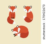 cute fox collection. vector... | Shutterstock .eps vector #170422673