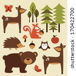 forest animals collection.... | Shutterstock .eps vector #170422700