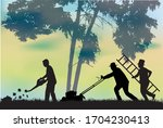 silhouettes of people cleaning... | Shutterstock .eps vector #1704230413