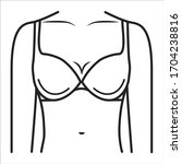 bra lingerie black line icon....