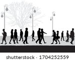 crowd of people silhouettes... | Shutterstock .eps vector #1704252559