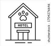 animal hotel black line icon....