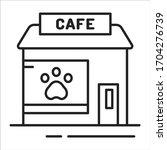 animal cafe black line icon....