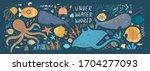 underwater world  vector cute... | Shutterstock .eps vector #1704277093