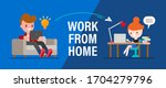 work from home. young people ... | Shutterstock .eps vector #1704279796